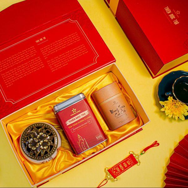 Bộ quà trà ngon trầm hương thượng hạng và nhang trầm cao cấp