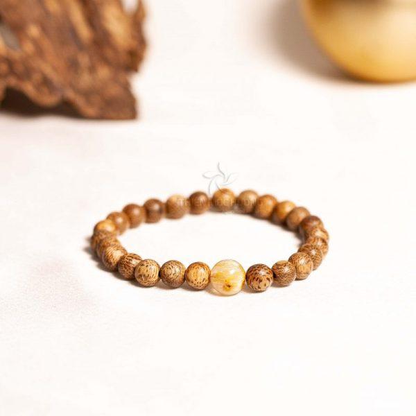 Vòng tay gỗ trầm hương Bảo Mệnh Trầm - Mệnh Kim